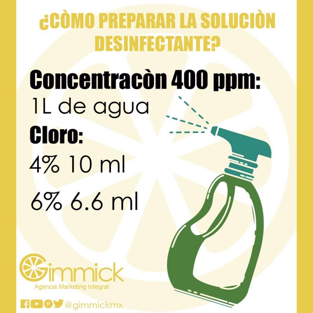 Solucion Desinfectate con cloro